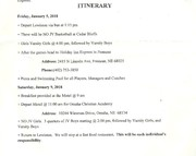 Jan 5 and 8th Itinerary